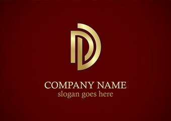 shape line letter d gold logo