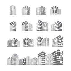 set of building icon vector