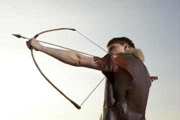 Robin Hood. Archer with arrow and long bow