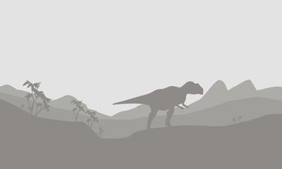 Silhouette of mapusaurus with fog