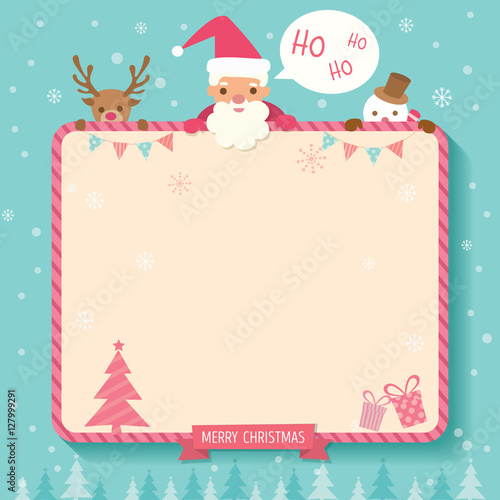 christmas and new year background template decorated with ornaments around border frame
