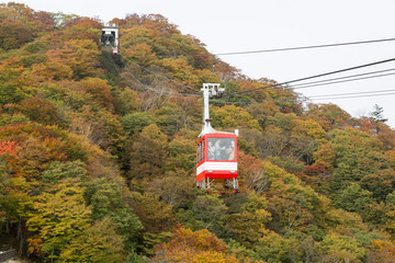 Cable car at Akechidaira plateau in autumn