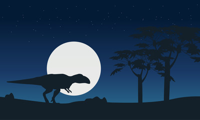 Mapusaurus on hill at night scenery silhouettes