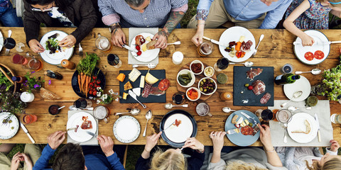 Group Of People Dining Concept