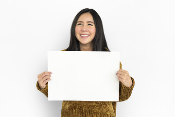 Woman Portrait Copy Space Studio Background Concept