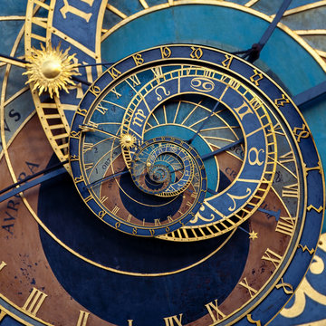 Abstract historical medieval astronomical clock