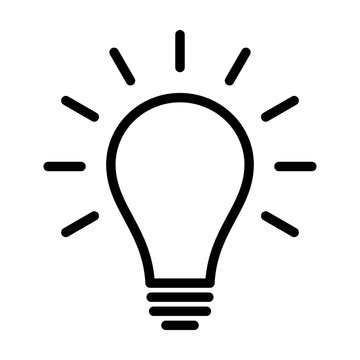Incandescent light bulb / lightbulb turned on or idea line art icon for apps and websites