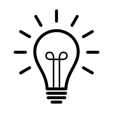 Vintage light bulb / lightbulb turned on or idea line art icon for apps and websites