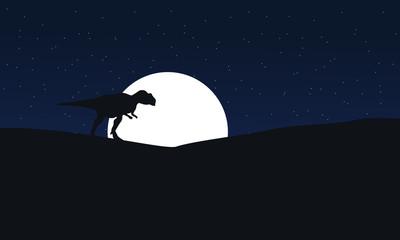 Illustration of mapusaurus at night scenery