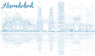 Outline Ahmedabad Skyline with Blue Buildings and Reflections.