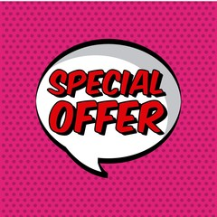 speech bubble with special offer over pink dots background. comic design. vector illustration