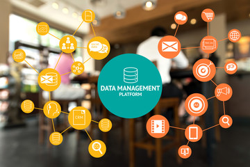 Data Management Platform (DMP) , Marketing and crm concept. Infographic , texts and icons on coffee retail shop background.  Wall mural