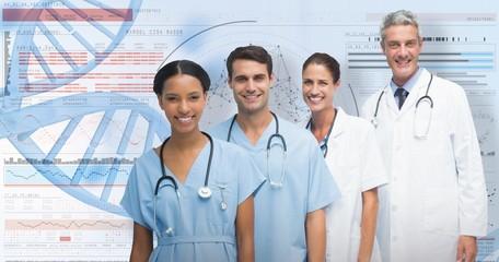 Composite image of portrait of confident medical team