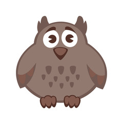 Owl funny cartoon character. Cute icon