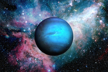 Planet Neptune. Outer space background.