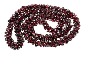 Beads from a pomegranate on a white background