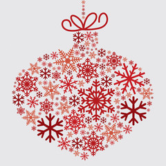 Bauble made of snowflakes in vector format.