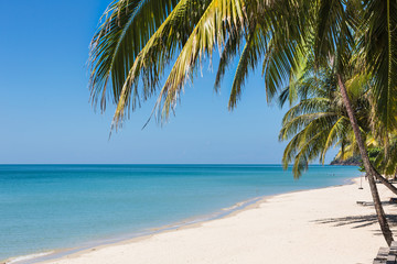 White sand beach in Koh Chang, a popular island on the gulf of Thailand in Thailand.