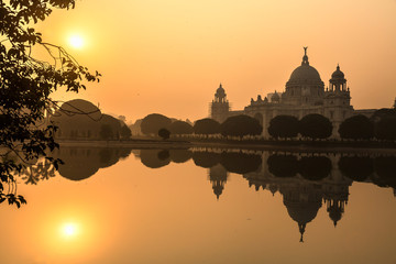 Beautiful Victoria Memorial architectural monument and museum at sunrise. Kolkata, India.