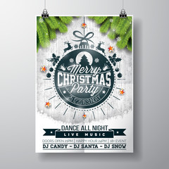 Vector Merry Christmas Party design with holiday typography elements and shiny stars on vintage wood background.