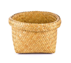 wood basket on white background