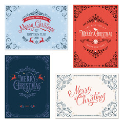 Ornate vertical and horizontal winter holidays greeting cards on the texture backgrounds. Vector illustration.