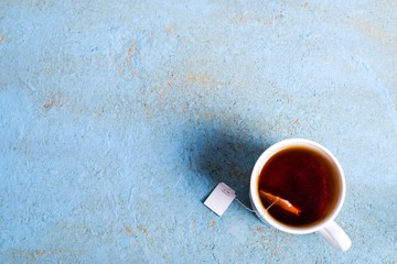 cup of tea with a bag of. Top view, copy space