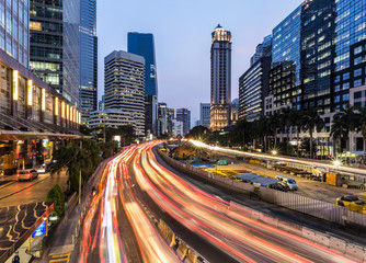 Jakarta rush hour in business district in Indonesia capital city at night
