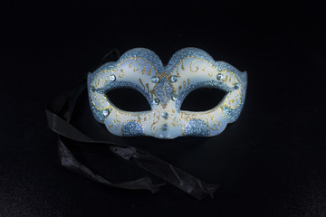 white blue glitter masquerade mask party isolated black