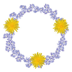 Circlet of forget me not and dandelion flowers