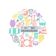 Vector music poster with musical instruments line icons