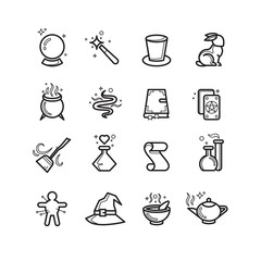 Magic and magician tools thin line vector icons