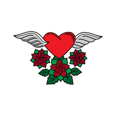 Old school tattoo heart with wings and roses vector isolated element