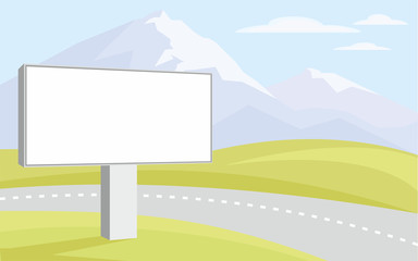 The image of the Billboard on the background of green hills and mountain peaks