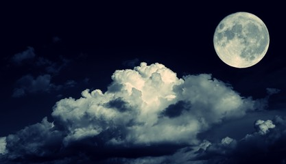 Night sky and a full moon in the clouds