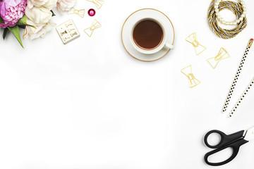 White desktop woman, table view, mockup, flowers peonies, gold