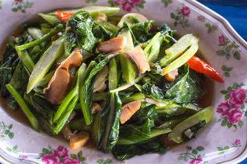 Kale with Salty Fish