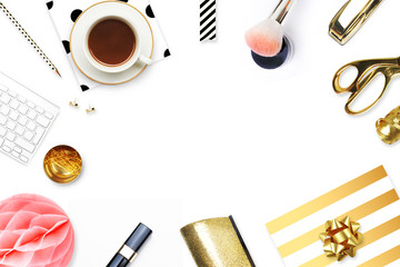 Woman modern background. Flat lay. Home workplace. Table view.Coffee with items.Mock-up background. Glamour style.