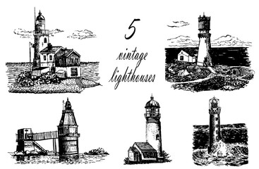 set of hand-drawn vector illustration isolated with pictures of vintage lighthouse