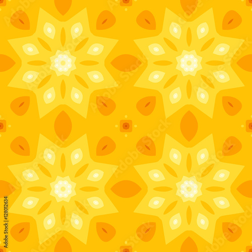 Simple Seamless Texture With A Yellow Star Or Flower And Orange - Orange print sheets