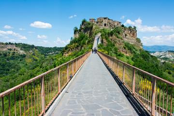 beautiful view on the famous dead town of Civita di Bagnoregio,