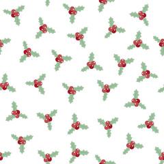 christmas berries or rowan berries background. seamless pattern. winter , seasonal design concept. vector illustration