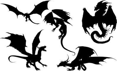西洋翼竜のシルエット