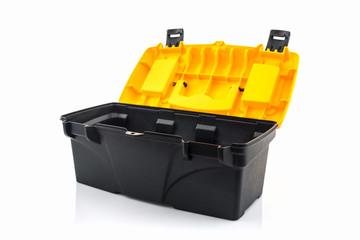 Yellow tool box, Plastic tool box.