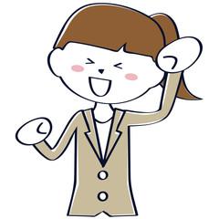 かわいいポニーテール ベージュのスーツ ビジネスウーマン 上半身 ガッツポーズ