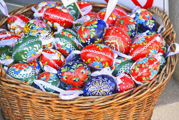 painted Easter eggs in a basket, easter holiday
