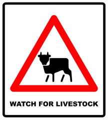 Road Sign Warning livestock Movement on White Background