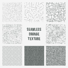 Set of grange seamless patterns. Simple vector scratch textures