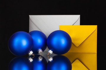 Gold and silver  envelopes and Christmas decoration