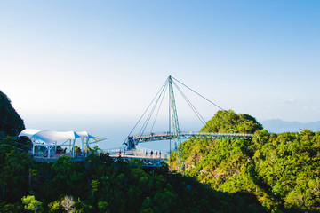 Sky bridge, view from cable car, Langkawi Malaysia. Tourist attraction, travel and vacation concept. Copy space